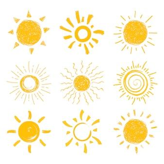 Ensemble de soleil plat