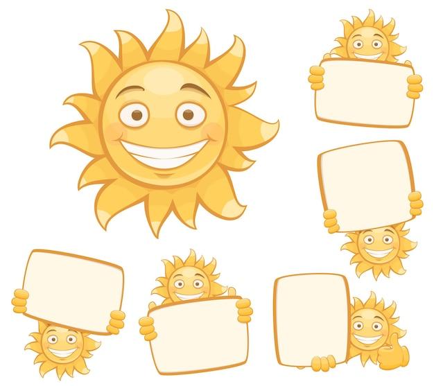 Ensemble de soleils souriants de vecteur. isolé sur fond blanc