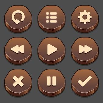 Ensemble sombre d'éléments de bouton de pierre de jeu et barre de progression, formes lumineuses et différentes de boutons pour jeux et application.