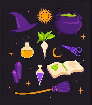 Ensemble de sorcière. chaudron, potion et cristaux