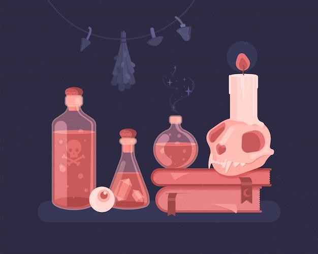 Ensemble de sorcières. potions magiques, sorcellerie