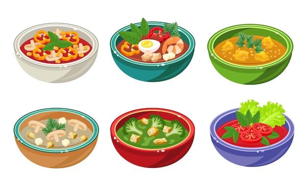 Ensemble de soupes dans des bols