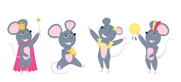 Un ensemble de souris. petite souris au fromage. personnages de dessins animés de rats.