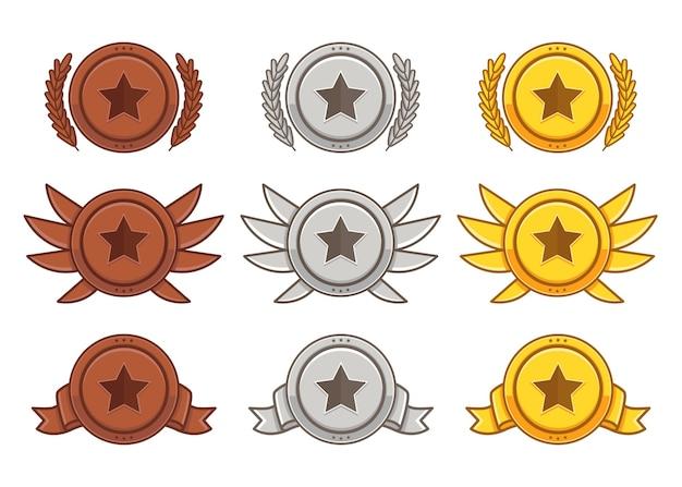 Ensemble de sous-insigne bronze argenté doré de couleur plate