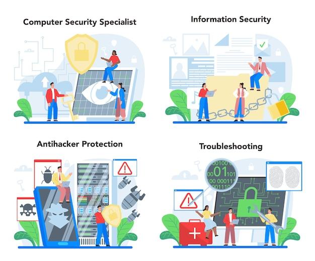 Ensemble de spécialistes de la sécurité informatique