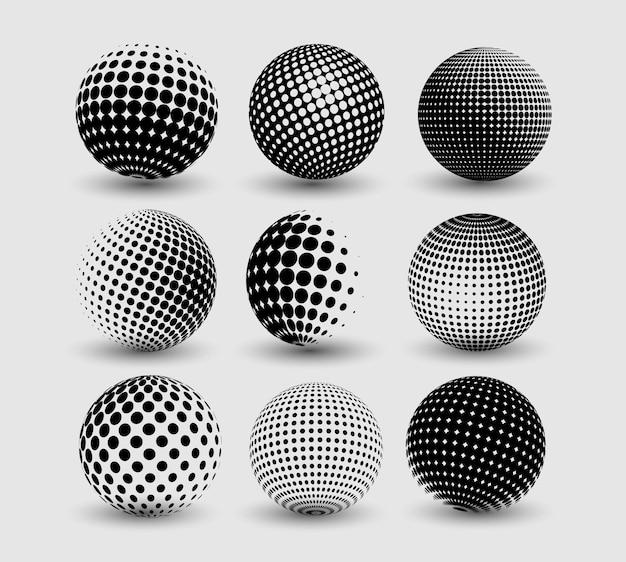 Ensemble de sphère de demi-teintes