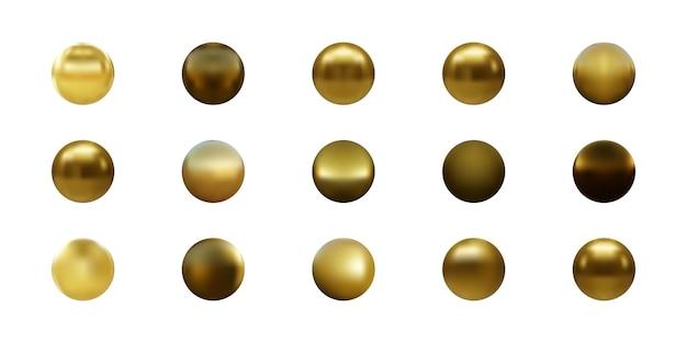 Ensemble de sphère d'or isolé sur blanc