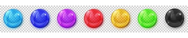 Ensemble de sphères colorées translucides avec des reflets et des ombres sur fond transparent. transparence uniquement en format vectoriel