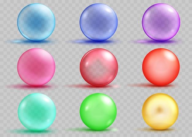 Ensemble de sphères colorées transparentes et opaques avec des ombres et des reflets sur fond transparent. transparence uniquement en fichier vectoriel