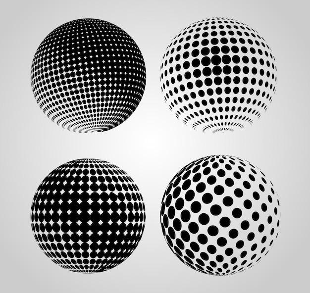 Ensemble de sphères de demi-teintes noires
