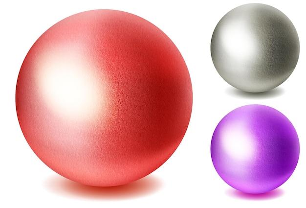 Ensemble de sphères multicolores réalistes avec des ombres sur fond blanc