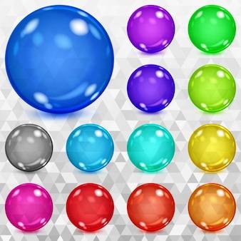 Ensemble de sphères transparentes multicolores avec reflets et ombres