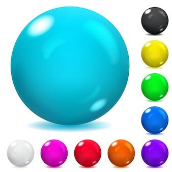 Ensemble de sphères en verre opaque de différentes couleurs