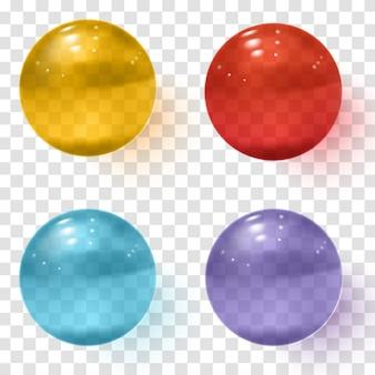 Ensemble de sphères en verre transparent multicolore avec des ombres