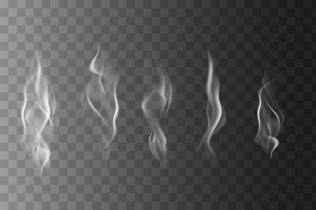 Ensemble de spirales de fumée ondulées