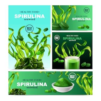Ensemble de spiruline réaliste de quatre bannières avec des produits prêts pour les plantes aquatiques colorées