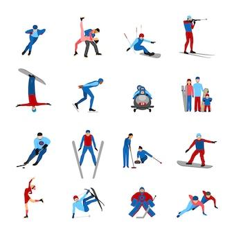 Ensemble de sportifs d'hiver
