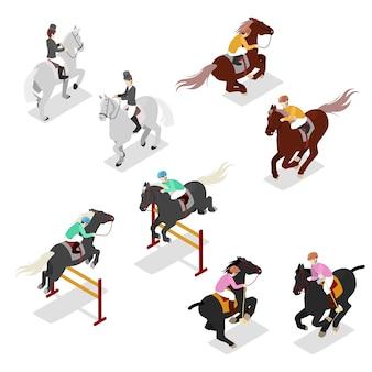 Ensemble de sports équestres isométriques