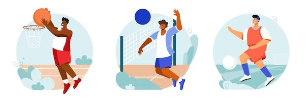 Ensemble de stade de sport de compositions rondes avec vues extérieures et personnages de joueurs avec des balles