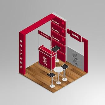 Ensemble de stand d'exposition isométrique 3d réaliste