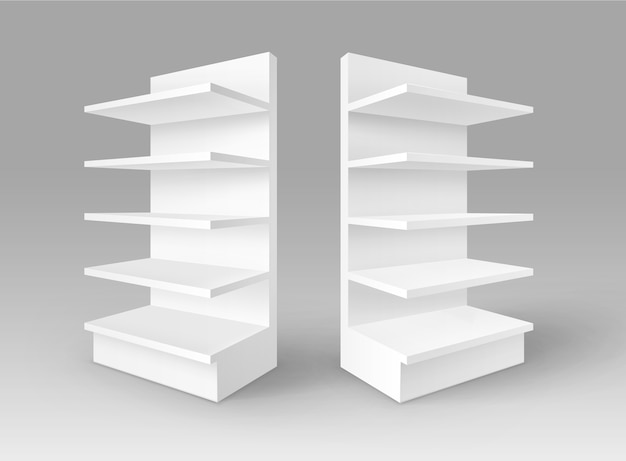 Ensemble de stands d'exposition vide vide blanc avec des étagères devantures de magasin isolé sur fond