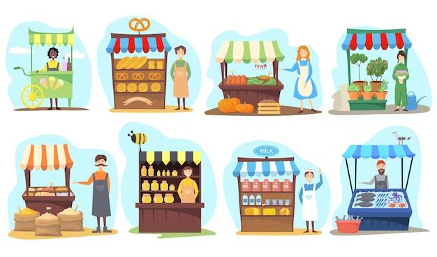 Ensemble de stands de vendeurs ambulants. illustration de dessin animé