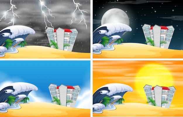 Ensemble de la station balnéaire scène météo différente
