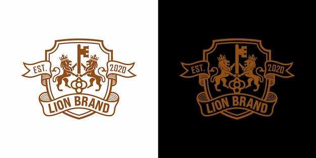 Ensemble de stock de conception de luxe logo clé lion
