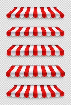 Ensemble de stores d'extérieur parasol rouge et blanc