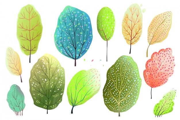Ensemble de style aquarelle dessiné à la main d'arbres abstraits ou de feuilles. dessin animé de vecteur.