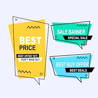 Ensemble de style de bannières de vecteur de memphis géométrique plat. étiquette de prix d'offre de rabais, marketing de promotion des ventes