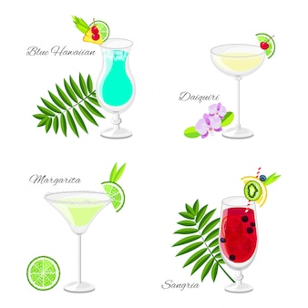 Ensemble de style de dessin animé de cocktails d'été