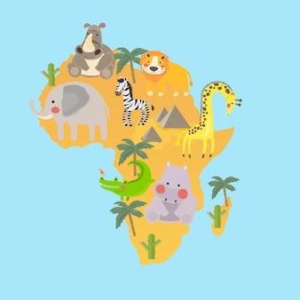 Ensemble de style dessin illustration des habitats de la faune