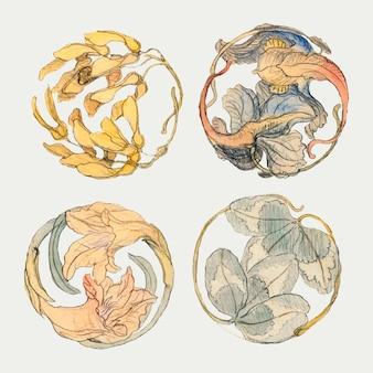 Ensemble de style dessiné à la main d'éléments floraux vintage, remixé à partir d'œuvres d'art de samuel colman