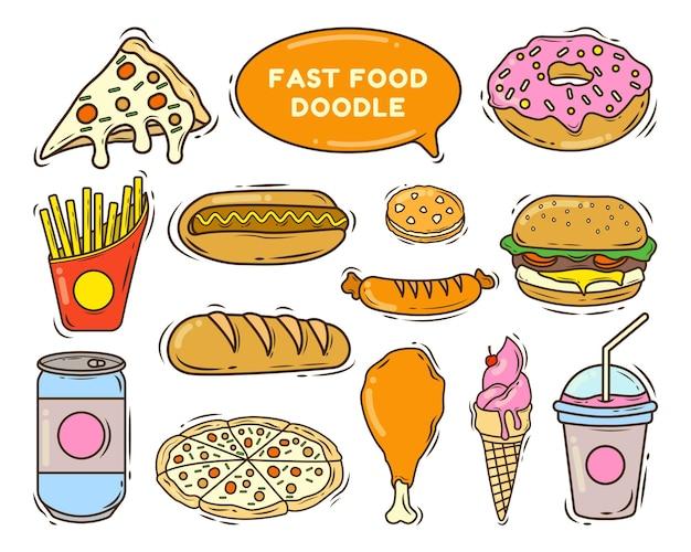 Ensemble de style doodle de dessin animé de restauration rapide dessiné à la main