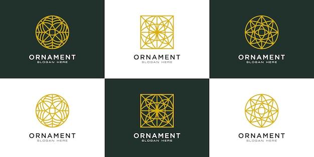 Ensemble de style de ligne de conception de logo d'ornement