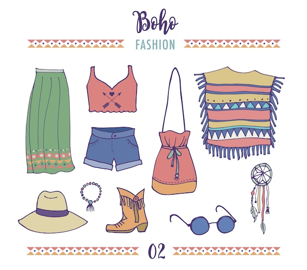 Ensemble de style de mode bohème, boho et hippie, illustration de vêtements gitans