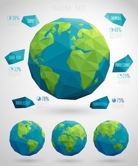 Ensemble de style moderne géométrique de globes écologiques vectoriels avec des polygones