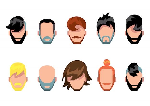 Ensemble de style moustache, barbe et cheveux