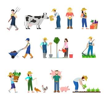 Ensemble de style plat de travailleurs de profession agricole