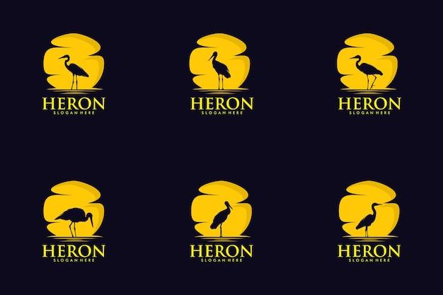 Ensemble de style de silhouette logo héron moderne avec fond rouge