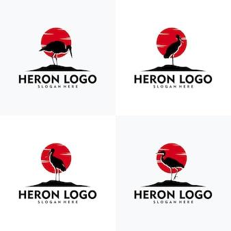 Ensemble de style de silhouette de logo héron moderne