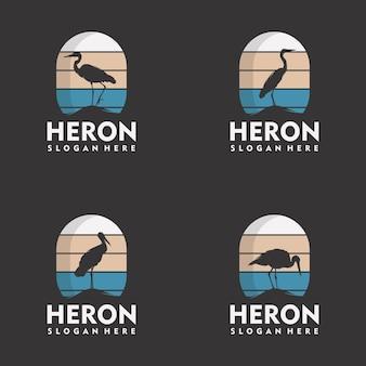 Ensemble de style de silhouette logo héron vintage