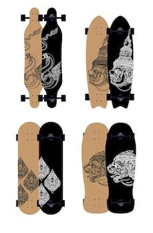Ensemble de style skateboard surf skate longboard desing motif thaïlandais, géant, grand serpent, singe