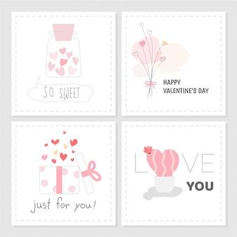 Ensemble de style valentin tag couleur douce rose dessinée à la main.
