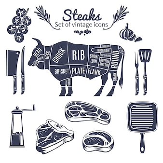 Ensemble de style vintage de steaks