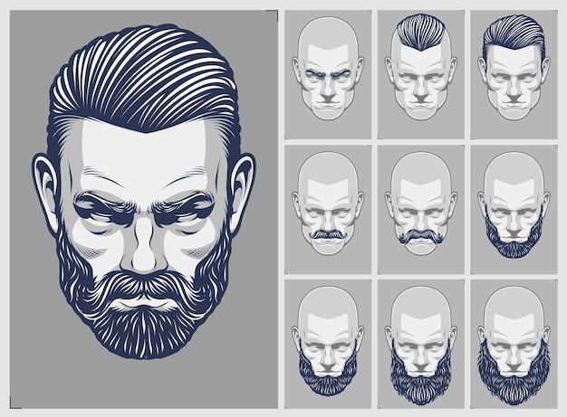Ensemble de styles de cheveux et de barbe
