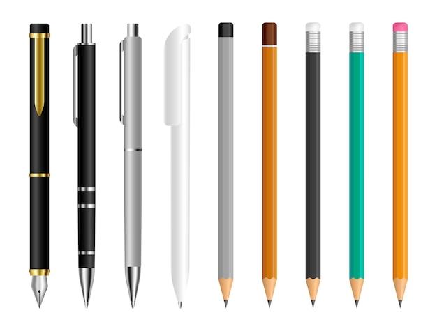 Ensemble stylo et crayon outils de papeterie pour dessiner et écrire