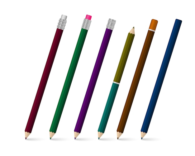 Ensemble de stylo d'écriture réaliste sur fond blanc. papeterie scolaire colorée. modèle de stylos en plastique multicolores réalistes sous différents angles. illustration,.
