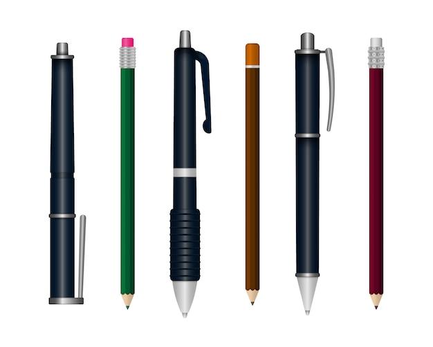 Ensemble de stylo d'écriture réaliste isolé sur fond blanc. papeterie scolaire colorée en 3d. modèle de stylos en plastique multicolores réalistes sous différents angles.